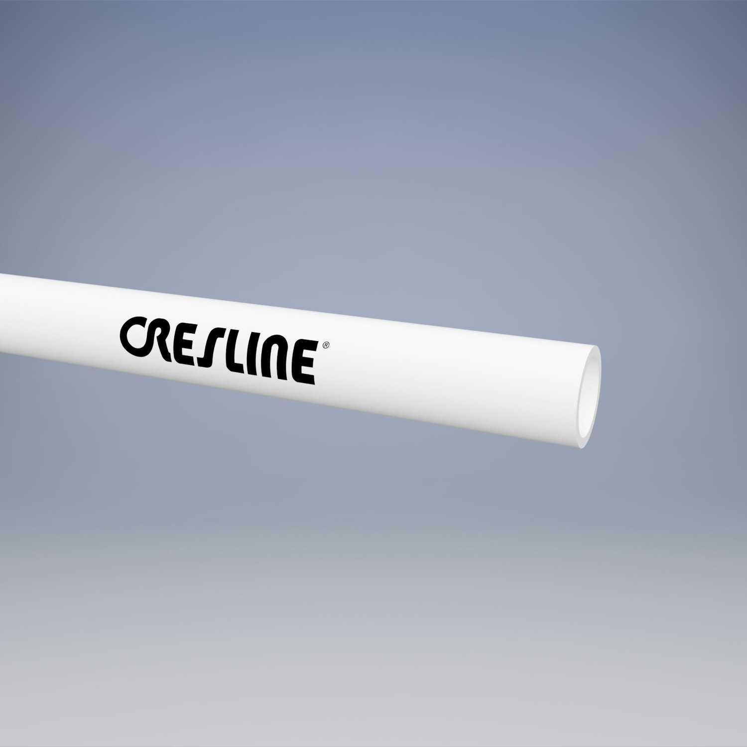 Cresline  PVC Pipe  1/2 in. Dia. x 10 ft. L Plain End  Schedule 40  600 psi