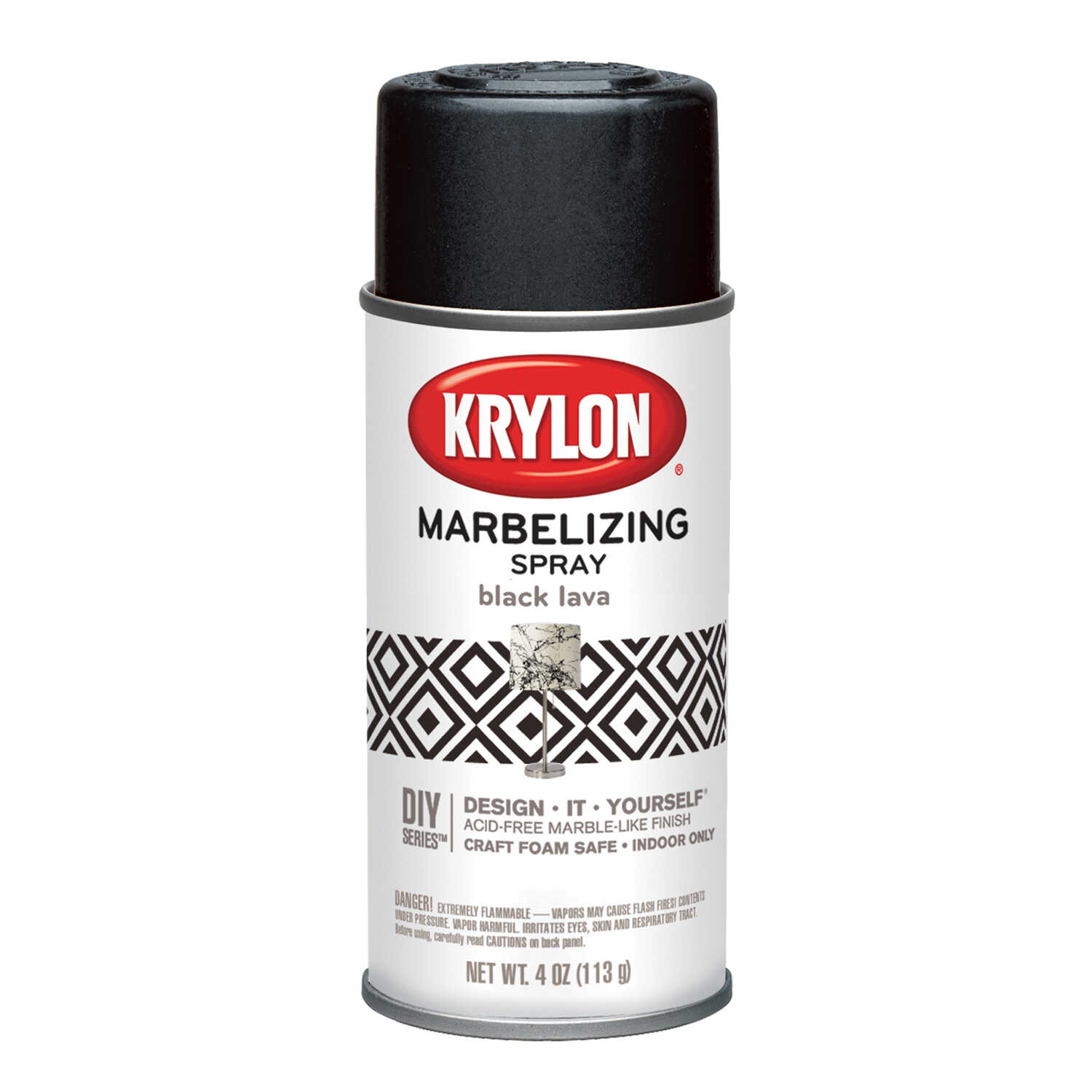 Krylon  Marbelizing  Textured  Black Lava  Spray Paint  4 oz.