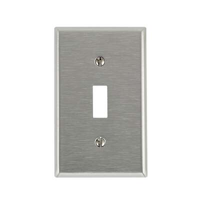 Leviton  Antimicrobial Powder Coated  Gray  1 gang Stainless Steel  Toggle  Wall Plate  1 pk