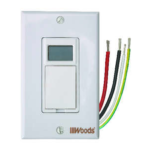 Woods  Indoor  120 volts White  7 Day Digital In Wall Timer