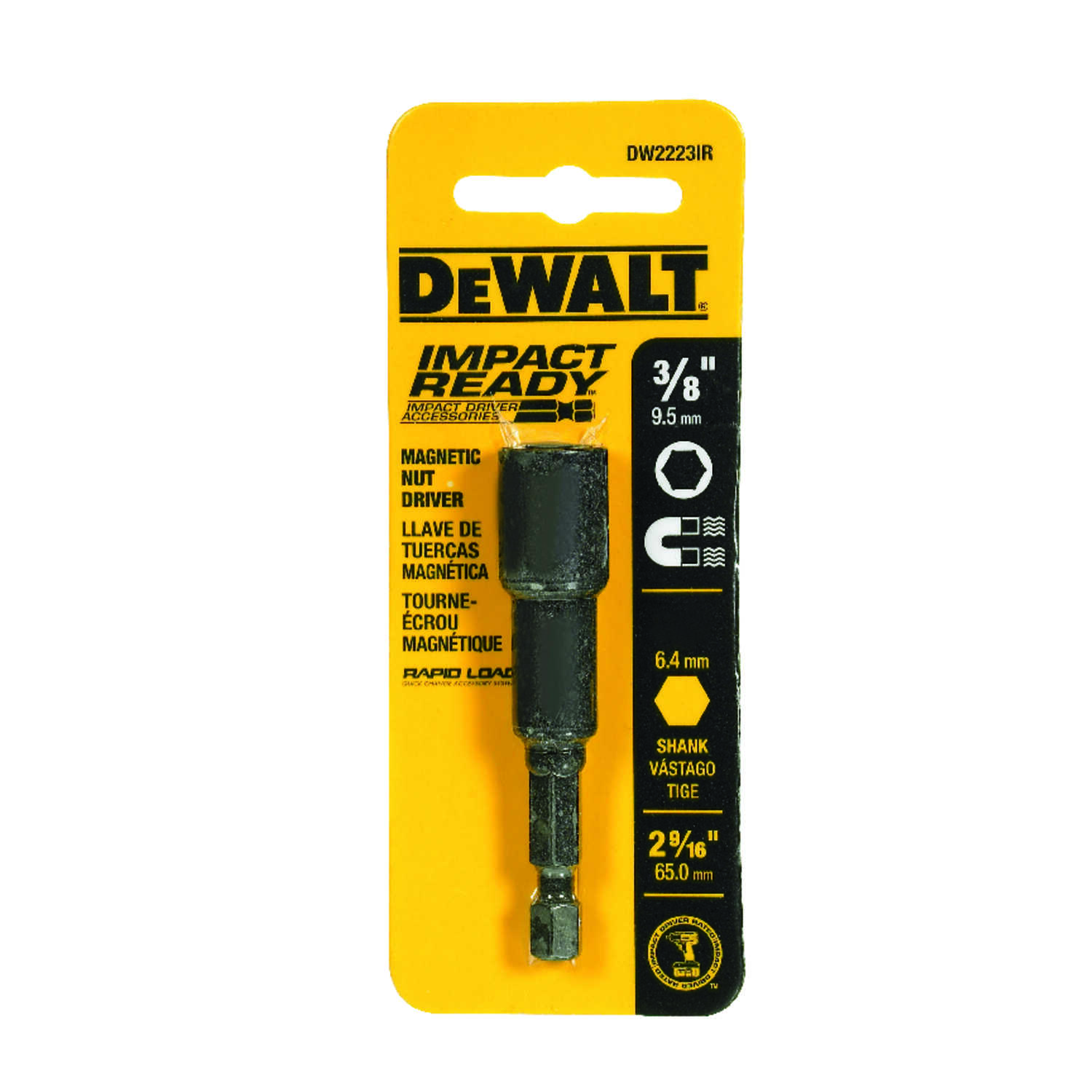 DeWalt  Impact Ready  3/8 in.  x 2-9/16 in. L Black Oxide  Nut Driver  1/4 in. Quick-Change Hex Shan