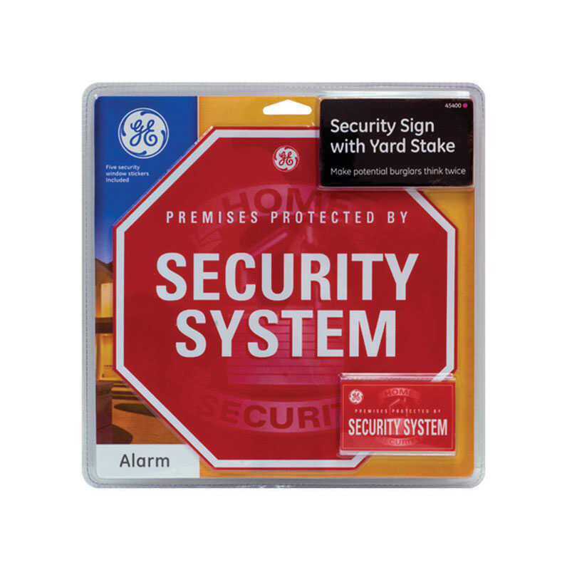 GE  English  Premises Protected By Security System  Security Sign Kit  Steel  14.4 in. H x 10.6 in.