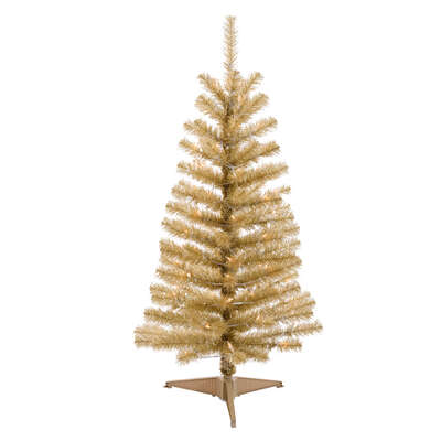 Celebrations  4-5 ft. Gold Tinsel  Prelit 70 count Artificial Tree
