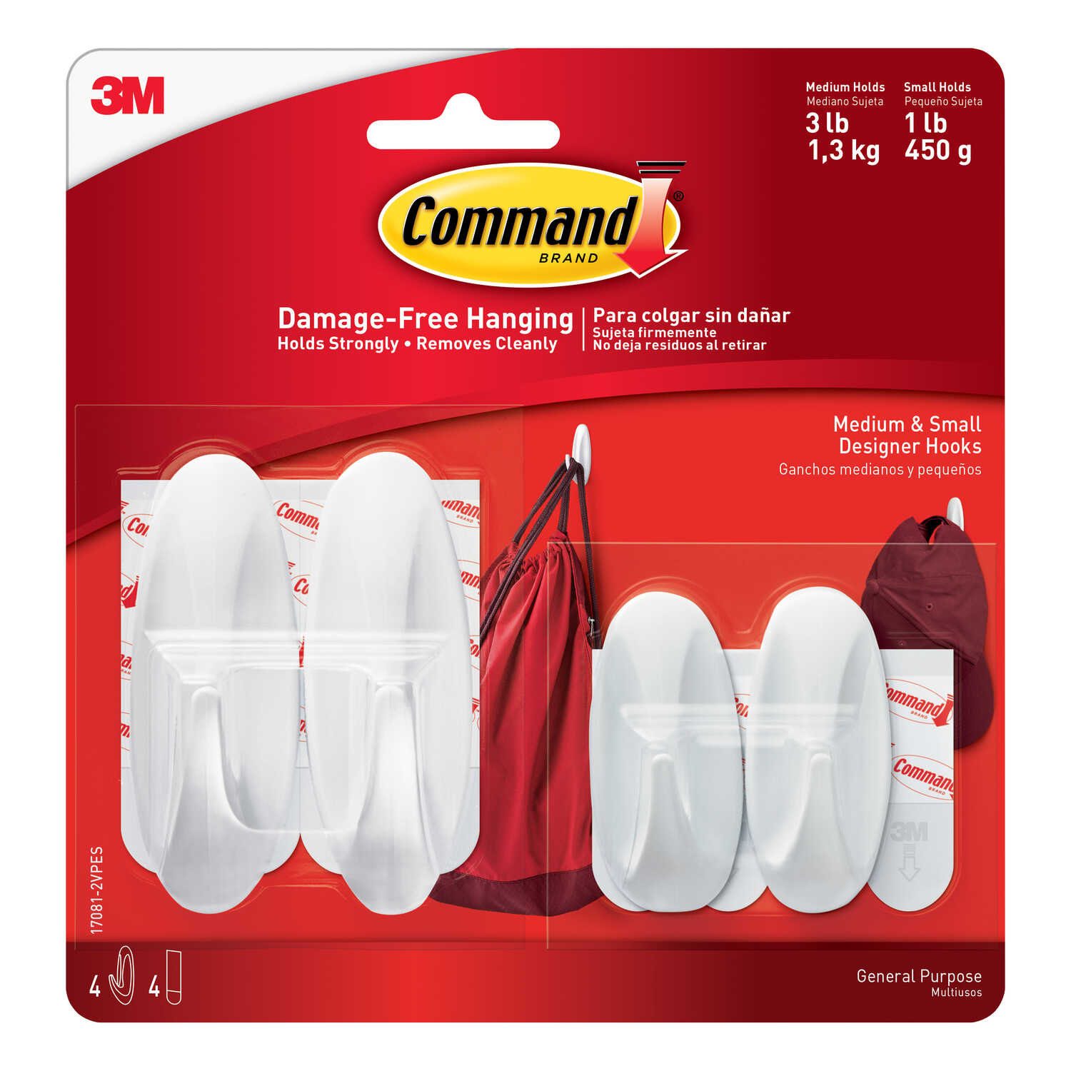 3M  Command  Small and Medium  Plastic  Hook  3-1/8 in. L 4 pk