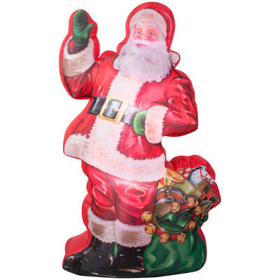 Gemmy LED White 83.86 in. Inflatable Santa with Bag