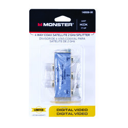 Monster Just Hook It Up 4 Way Coax Splitter 75 Ohm 2150 mHz 1 pk