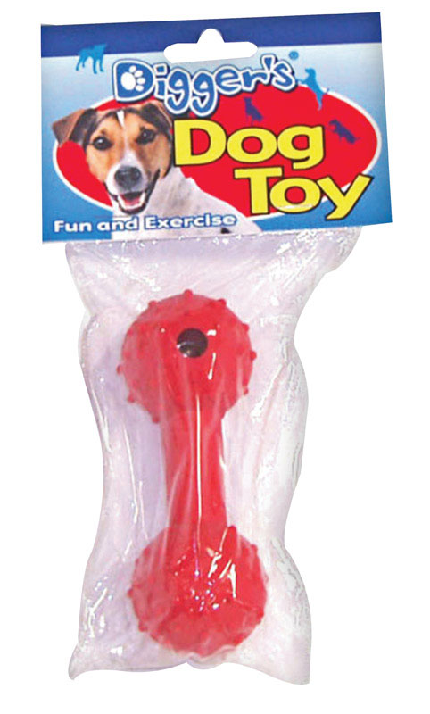 Diggers  Dumb Bell  Rubber  Dumb Bell Sports Dog Toy  Medium  Red