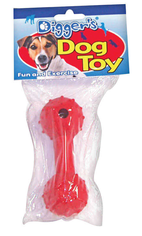Diggers  Red  Dumb Bell  Dog Toy  Medium  Rubber