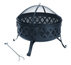Living Accents  Lattice  Wood  Fire Pit  25.51 in. H x 35.47 in. W x 35.47 in. D Steel