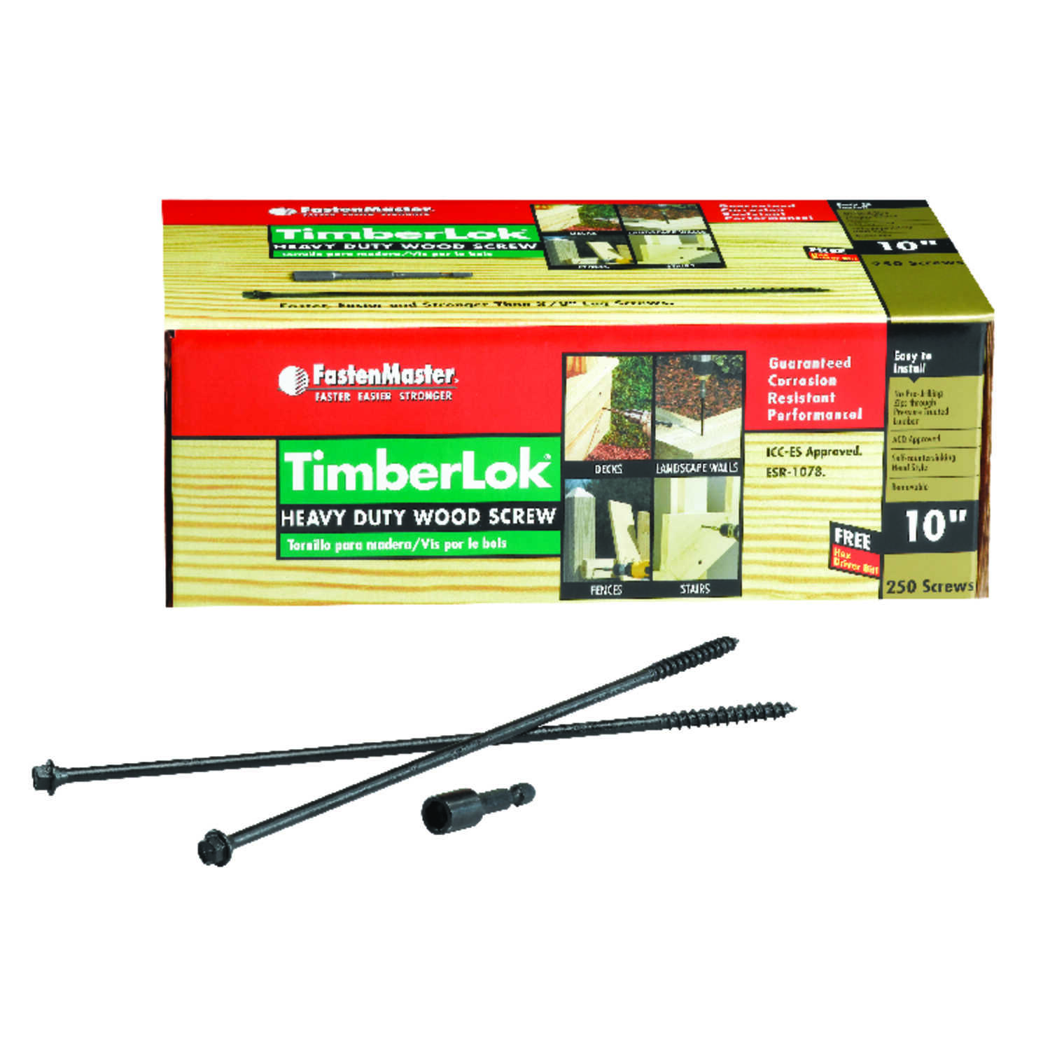 FastenMaster  TimberLok  No. 10   x 10 in. L Hex Head Steel  Epoxy  250 pk Wood Screw