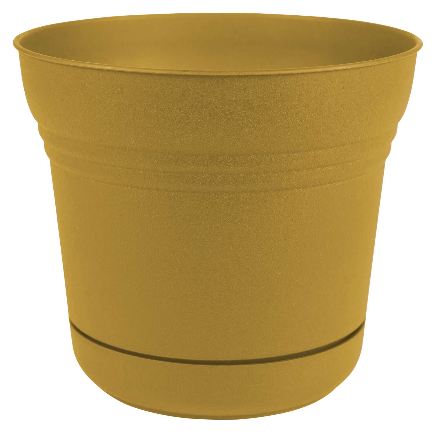 Bloem 10 in. Dia. Polyresin Saturn Planter Yellow