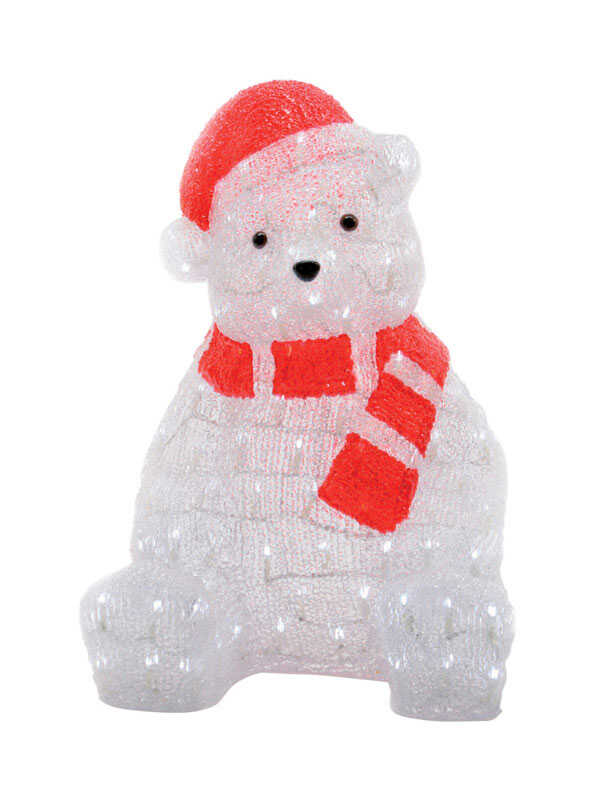 Illumax  LED Santa Bear  Christmas Decoration  Red/White  Acrylic  1 each
