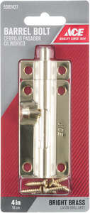 Ace Barrel Bolt 4 in. Bright Brass For Lightweight Doors, Chests and Cabinets