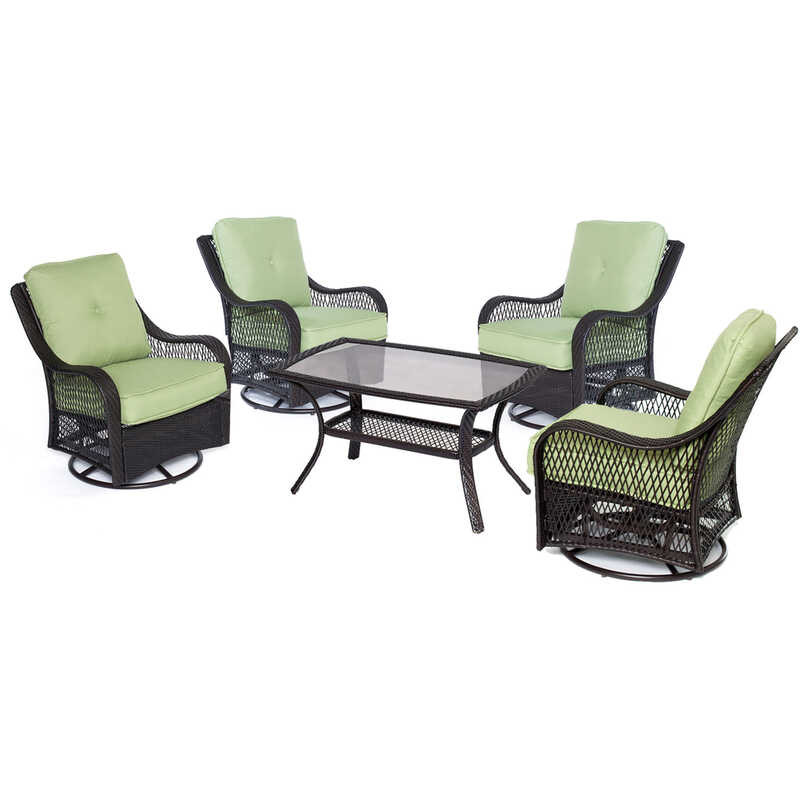 Hanover  5 pc. Brown  Resin  Patio Set  Green