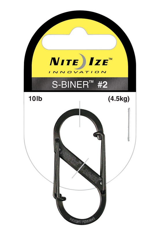 Nite Ize  S-Biner  1.8 in. Dia. Stainless Steel  Black  Carabiner  Key Holder