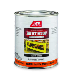 Ace  Rust Stop  Indoor and Outdoor  Gloss  Safety Orange  Interior/Exterior  Rust Prevention Paint