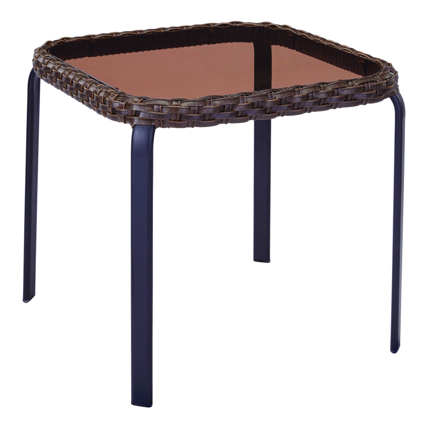 Living Accents  Stackable Glass Top  Brown  Roscoe  End Table  Square