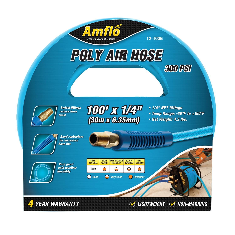 Light /& Flexible Yellow Hyper Tough PU Recoil Air Hose 1//4in x 25ft