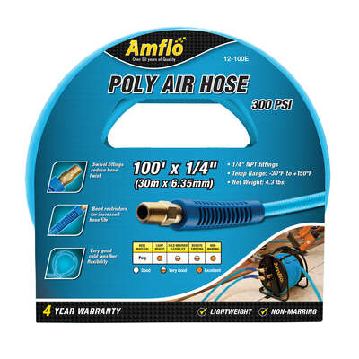 Amflo  100 ft. L x 1/4 in. Dia. Polyurethane  Air Hose  300 psi Blue