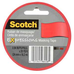 3M  Expessions  .94 in. W x 20  L x 20 yd. L Red  Low Strength  General Purpose  Masking Tape  1 pk