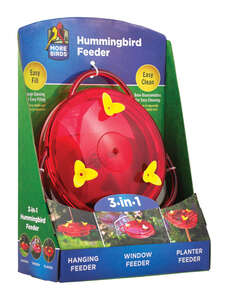 More Birds  3-in-1  Hummingbird  6 oz. Plastic  Nectar Feeder  3