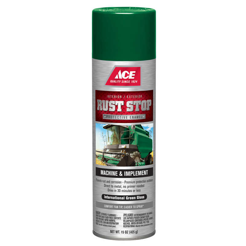 Ace  Rust Stop  Gloss  Protective Enamel Spray  15 oz. International Green