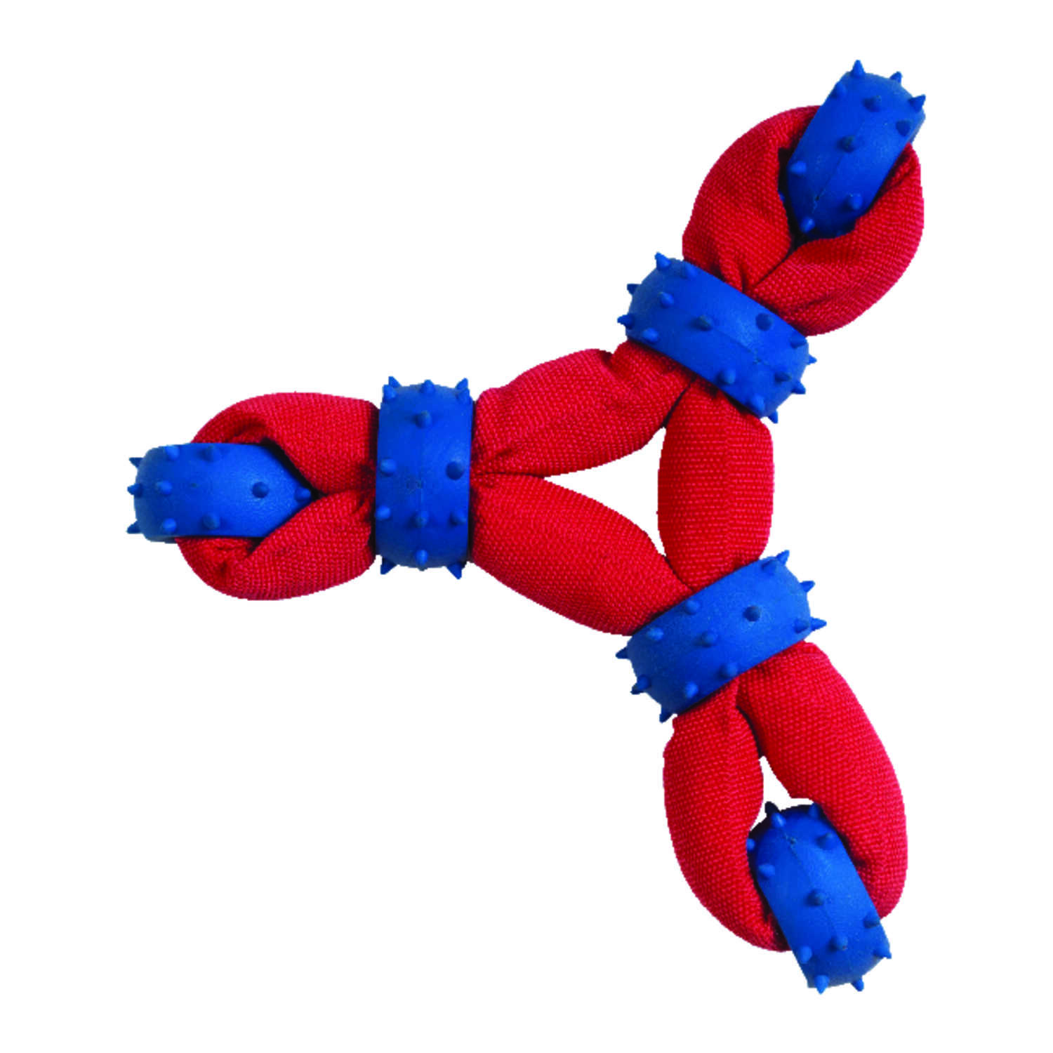 Chomper  Blue/Red  Tuff Nylon Triangle with Rubber Rings  Nylon/Rubber  Large  Dog Toy
