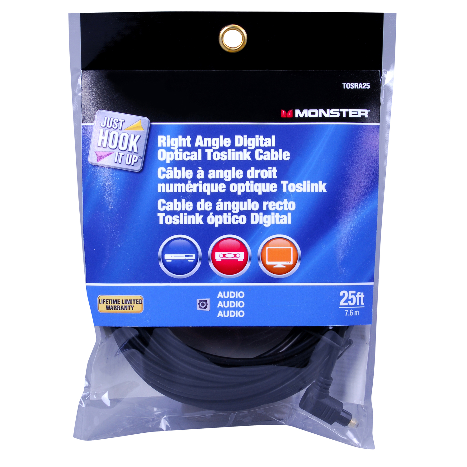 Monster Cable  Just Hook It Up  25 ft. L Digital Optical Toslink Cable  Digital Optical