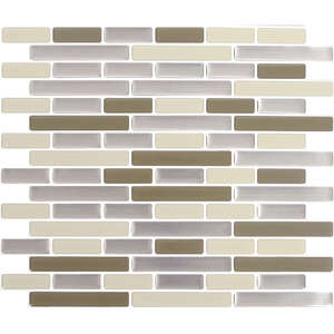 Peel and Impress  9.3 in. W x 11 in. L Cream  Vinyl  Adhesive Wall Tile  4 pk Multiple Finish (Mosai