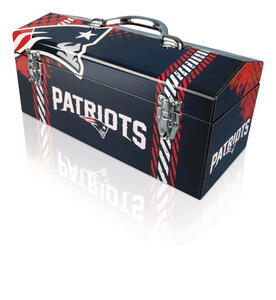 Sainty International  16.25 in. Steel  New England Patriots  Art Deco Tool Box  7.1 in. W x 7.75 in.