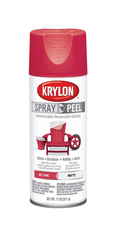 Krylon  Spray 'n Peel  Matte  Hot Pink  Spray Paint  11 oz.