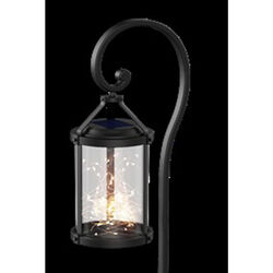 FEIT Electric Black Metal 12 in. H Round Coach Lantern Solar Garden Stake