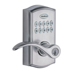 Kwikset SmartKey Satin Chrome Metal Electronic Touch Pad Entry Lever