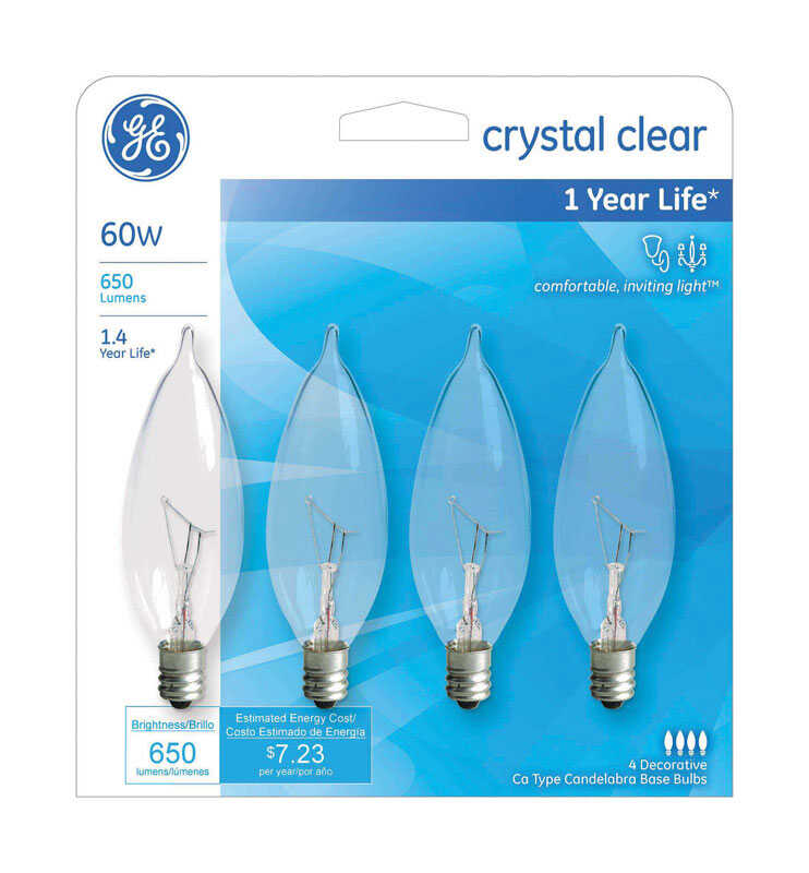 GE Lighting  60 watts CA10  Incandescent Light Bulb  650 lumens White (Clear)  Bent Tip  4 pk