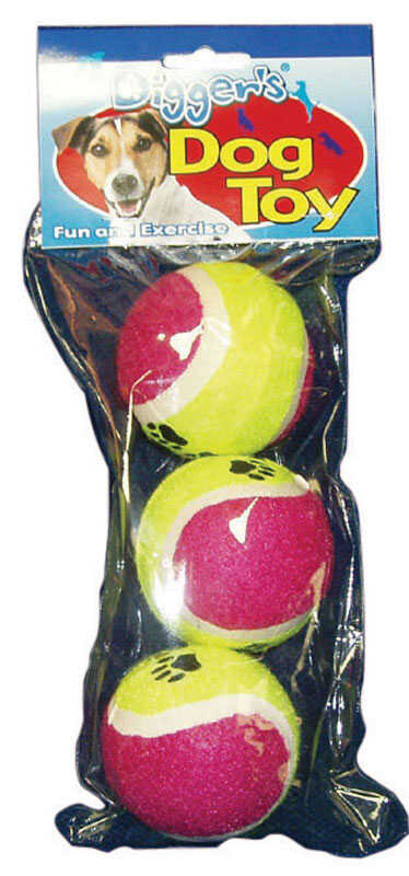 Diggers  Multicolored  Pet Tennis Balls  Rubber  Dog Toy  Large