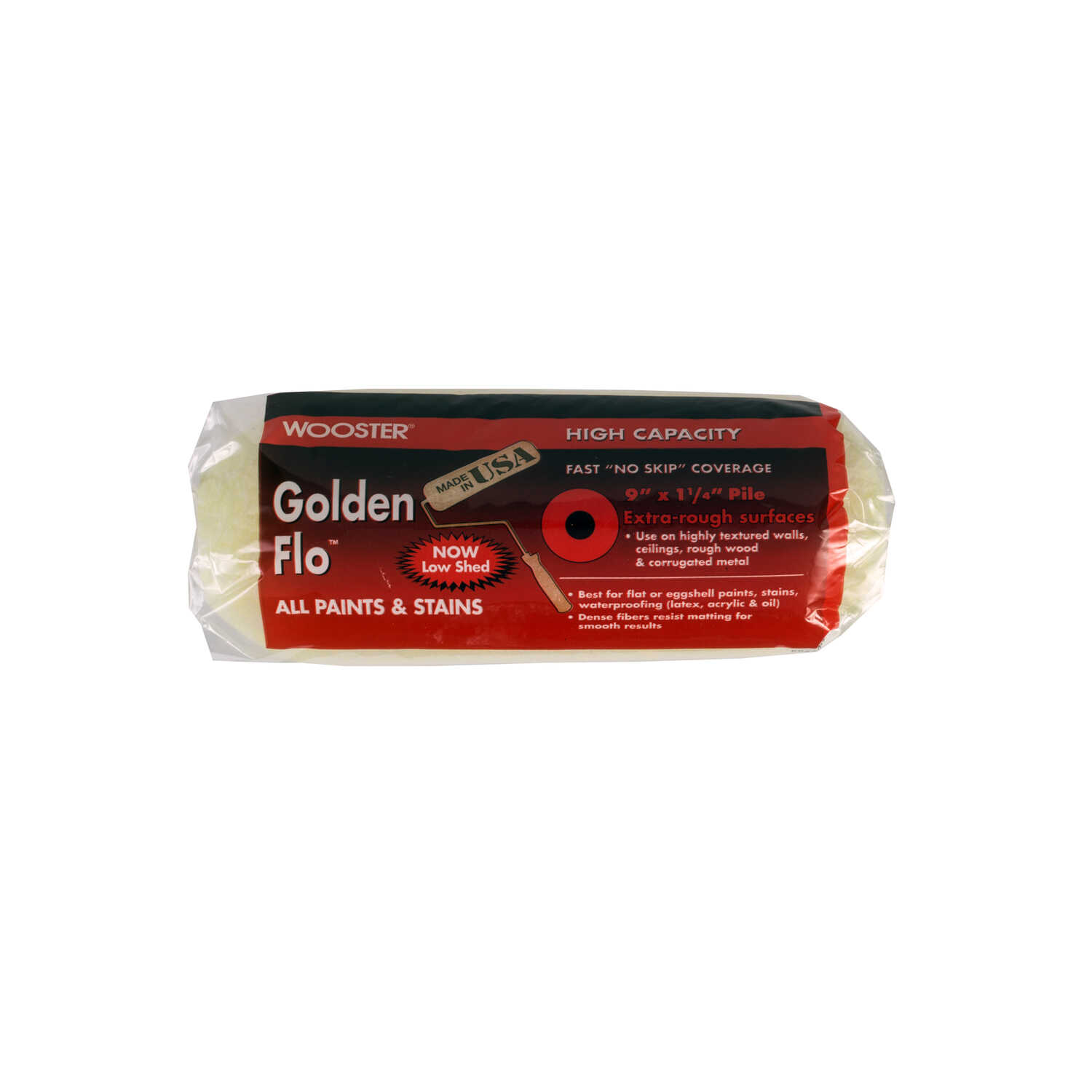 Wooster  Golden Flo  Fabric  1-1/4 in.  x 9 in. W Paint Roller Cover  For Extra Rough Surfaces 1 pk