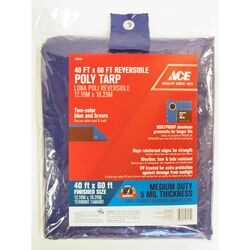 Ace  40 ft. W x 60 ft. L Medium Duty  Polyethylene  Tarp  Blue/Brown