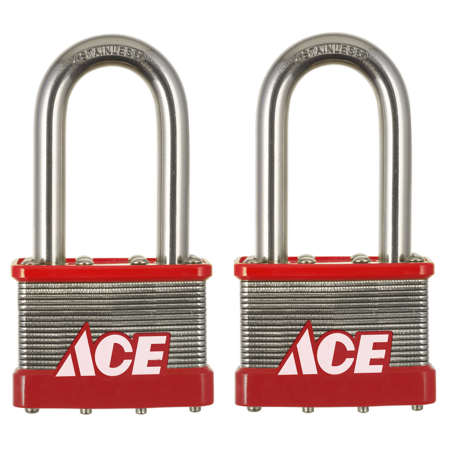 Ace  1.5 in. H x 2 in. W Stainless Steel  4-Pin Cylinder  Padlock  2 pk Keyed Alike