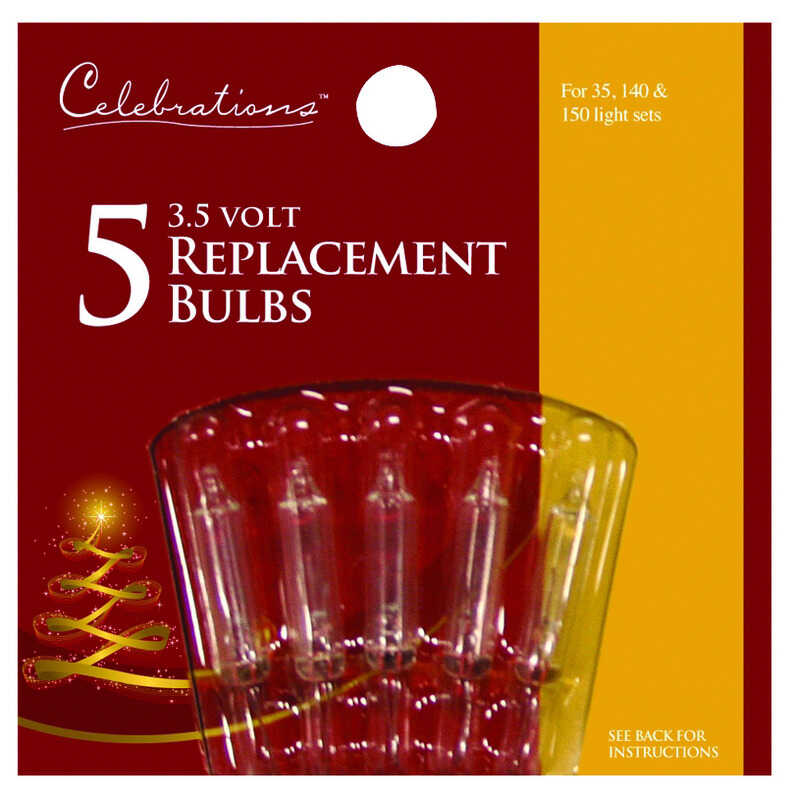 Celebrations  Incandescent  Mini  Replacement Bulb  Clear  5 lights