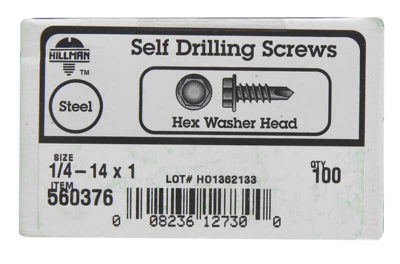 Hillman  1/4-14 Sizes  x 1 in. L Hex  Hex Washer Head Zinc-Plated  Steel  Sheet Metal Screws  100 pk