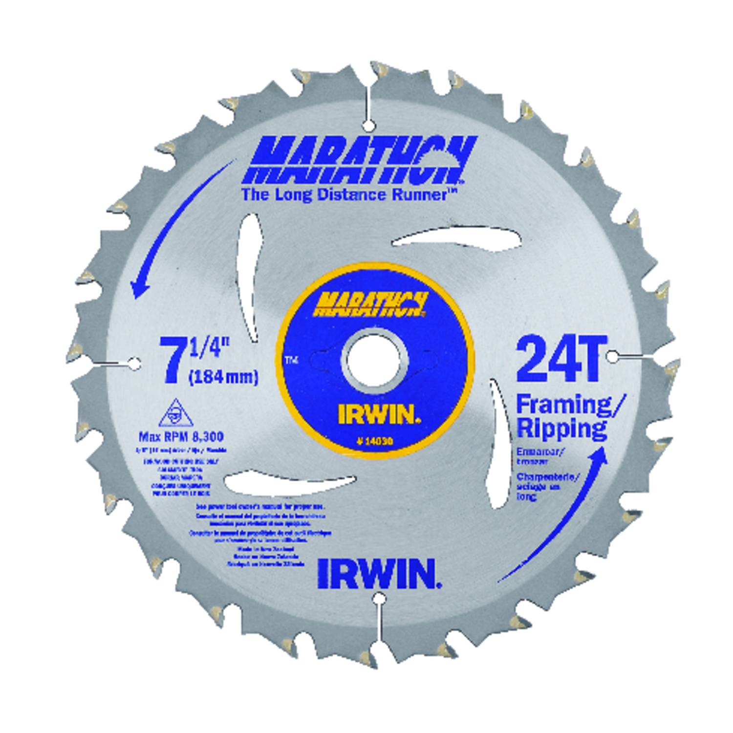 Irwin  Marathon  7-1/4 in.  Dia. x 5/8 in.  Carbide  Marathon  Circular Saw Blade  24 teeth 1 pk