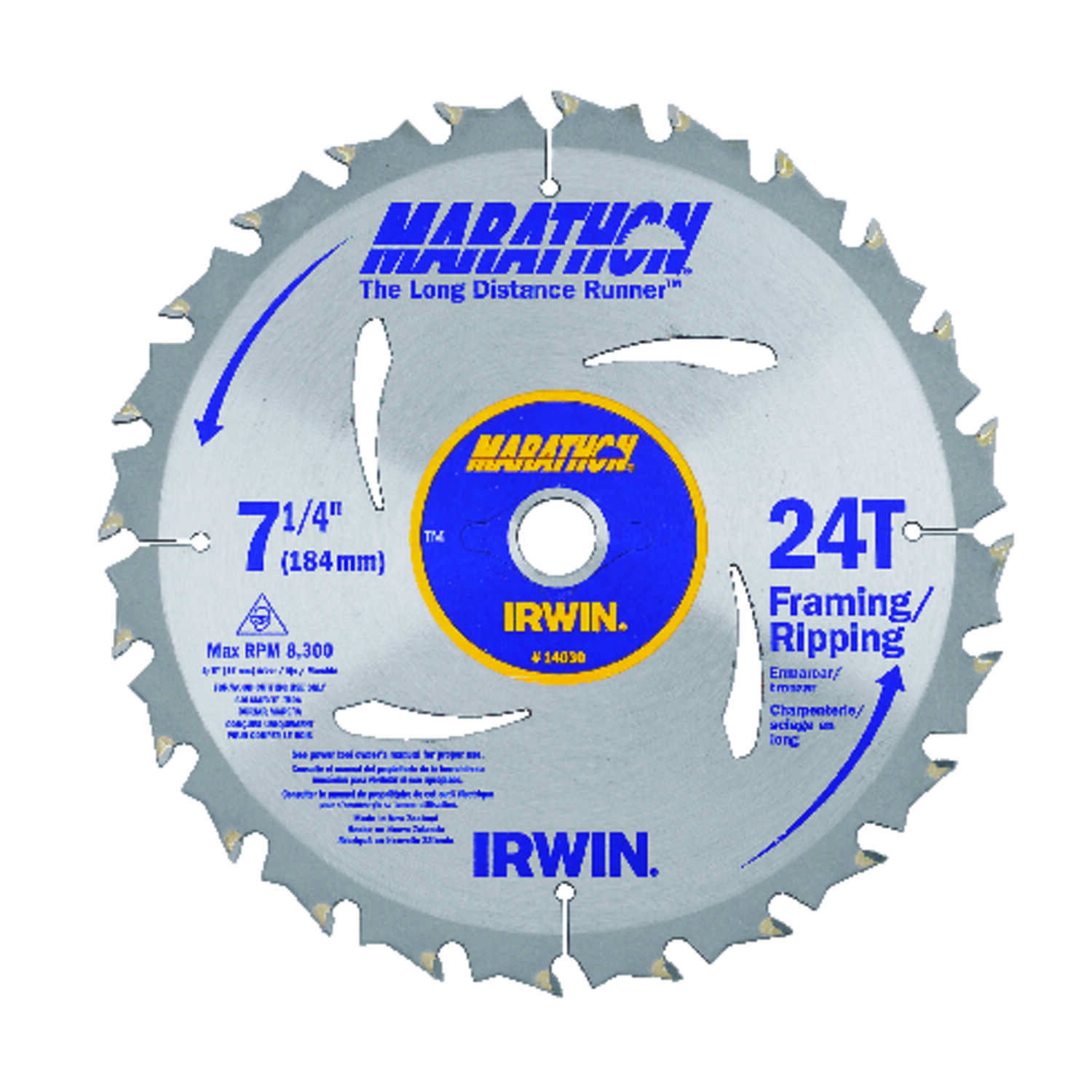Irwin  Marathon  7-1/4 in.  Dia. x 5/8 in.  Carbide  Circular Saw Blade  24 teeth 1 pk
