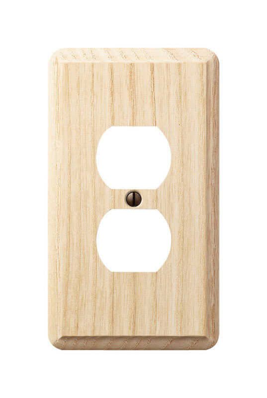 Amerelle  Contemporary  Unfinished  1 gang Wood  Duplex Outlet  Wall Plate  1 pk