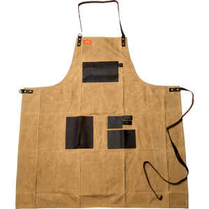 Traeger  Brown  Canvas/Leather  Solid  Apron