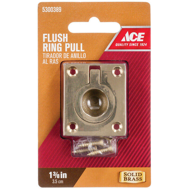 Ace  Brass  1-3/8 in. L 1-3/8 in. 1 pk Cabinet Flush Pull  Solid Brass  1-3/8 in.