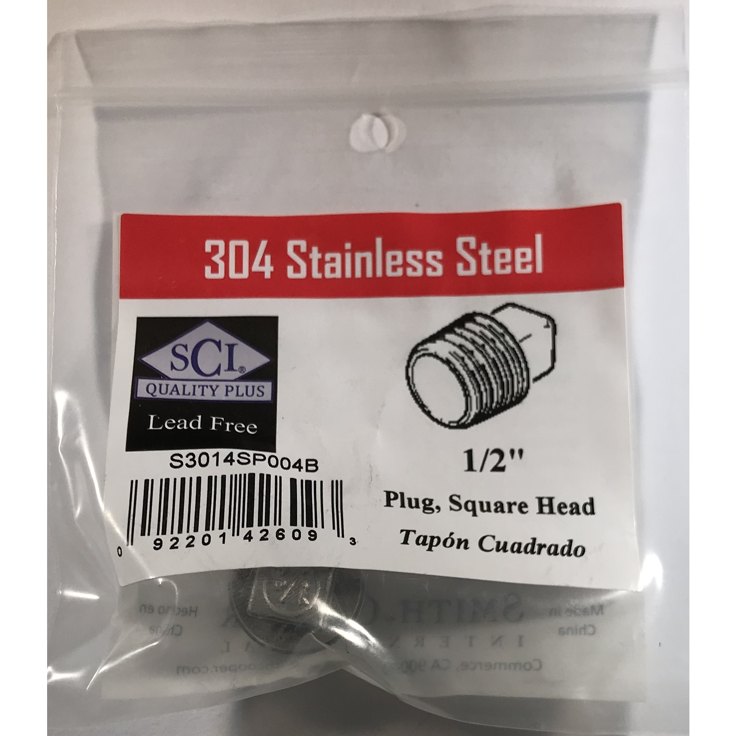 Smith-Cooper  1/2 in. MPT   x 1/2 in. Dia. MPT  Stainless Steel  Square Head Plug