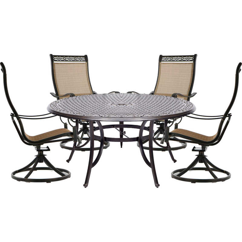 Hanover  5 pc. Brown  Aluminum  Patio Set
