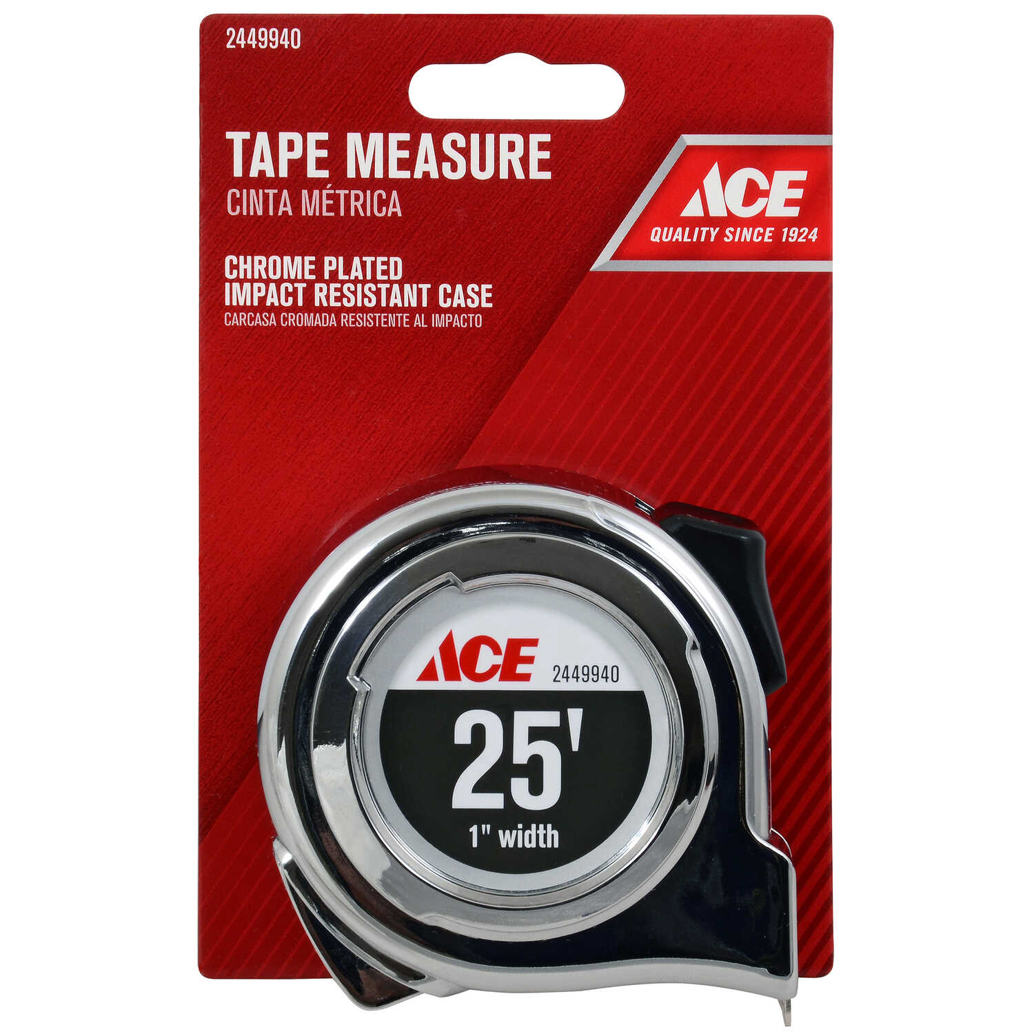 Ace  25 ft. L x 1 in. W Tape Measure  Chrome  1 pk