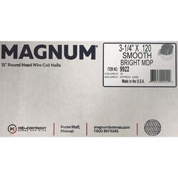 Magnum Pro 3-1/4 in. Angled Coil Nails 15 deg. Smooth Shank 4500 pk
