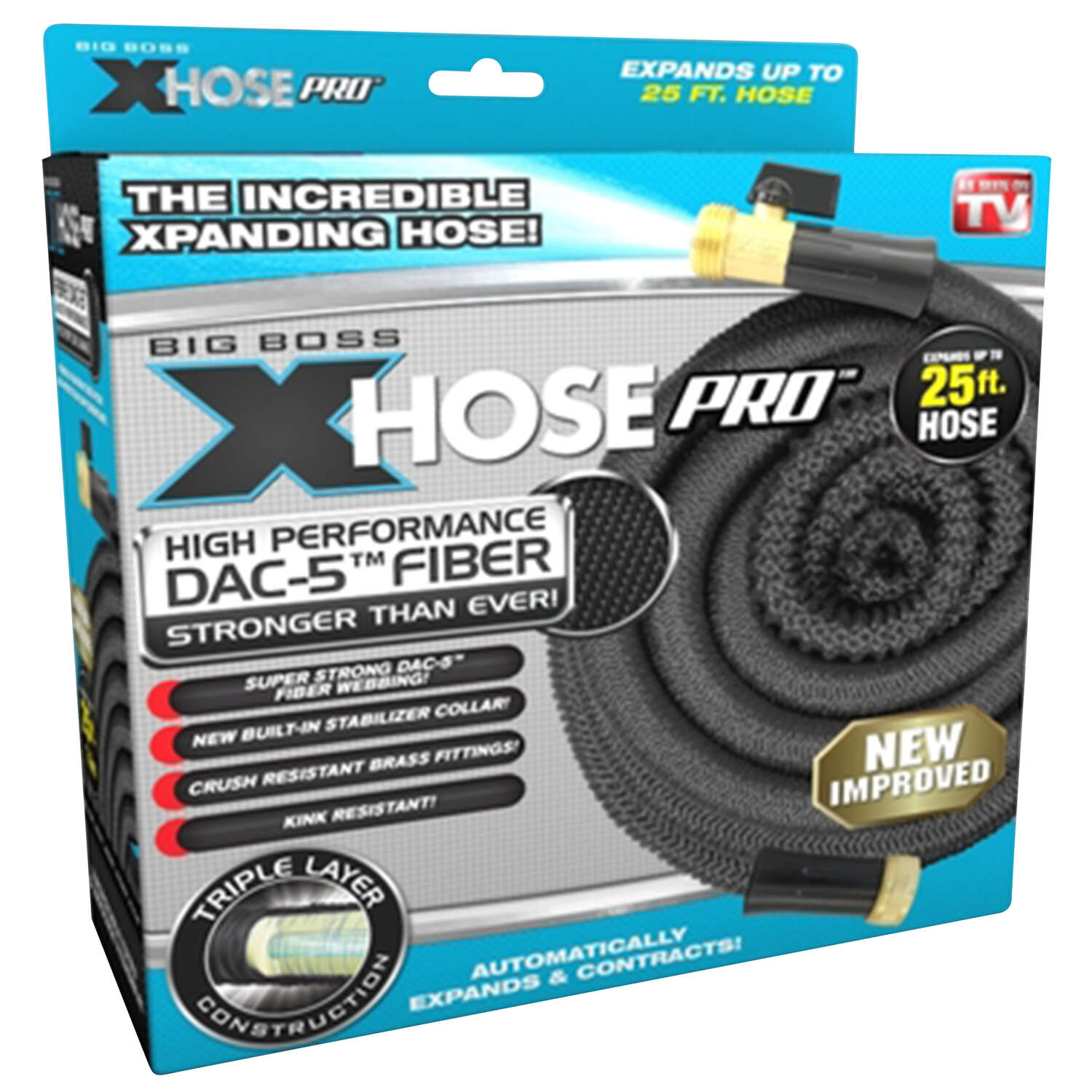 Xhose  5/8 in. Dia. x 25 ft. L Commercial  Black  Polyester  Garden Hose